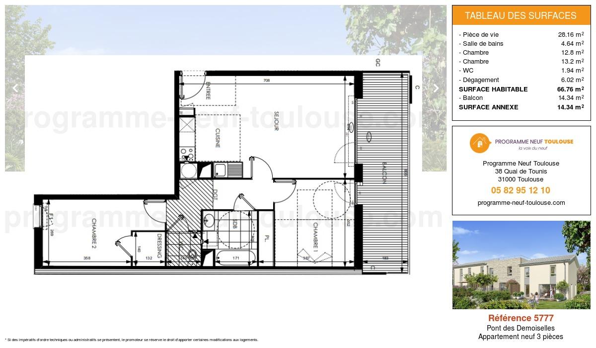 Plan pour un Appartement neuf de  66.76m² à Pont des Demoiselles