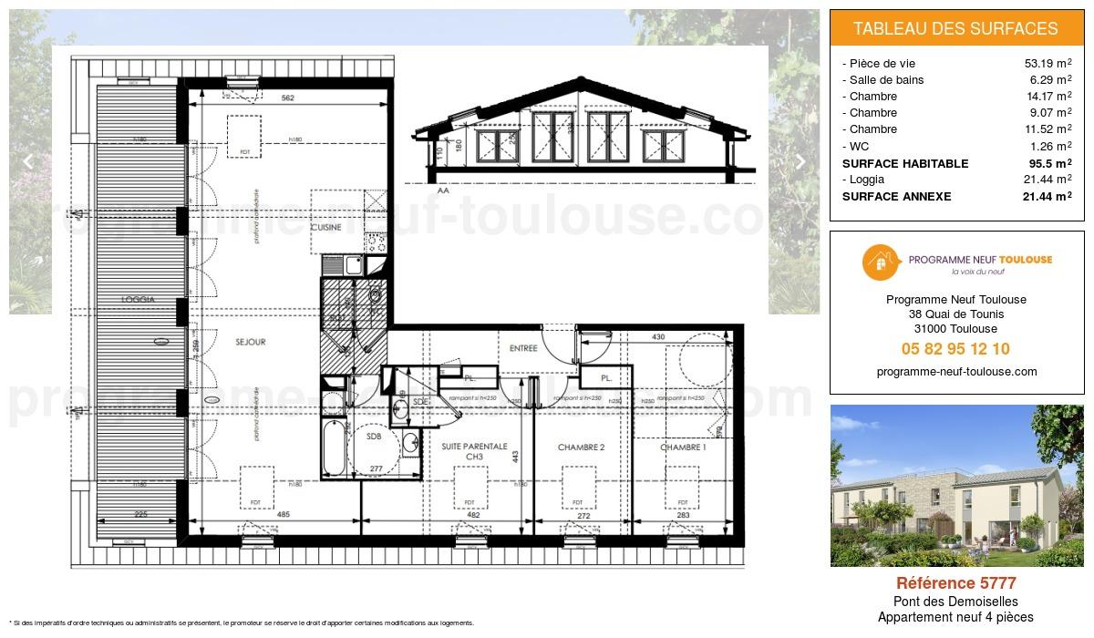 Plan pour un Appartement neuf de  95.5m² à Pont des Demoiselles