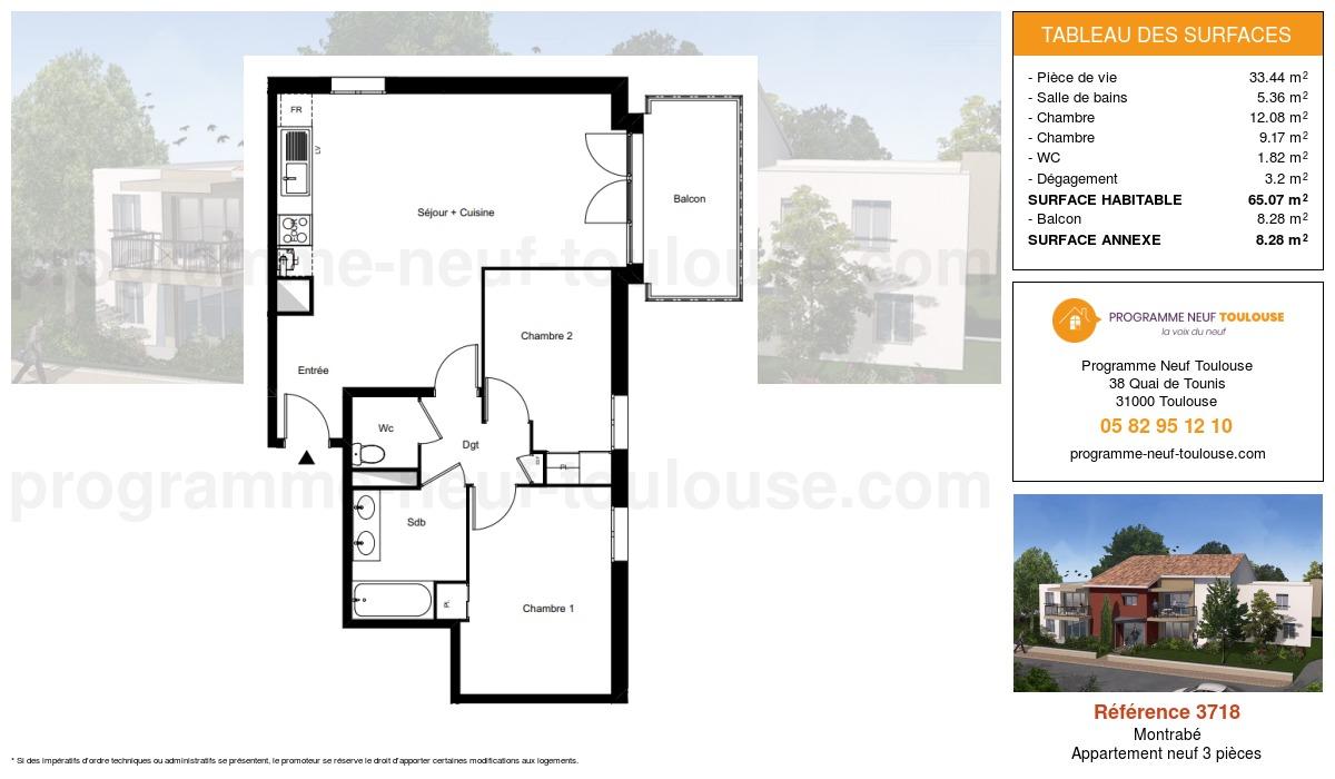 Plan pour un Appartement neuf de  65.07m² à Montrabé