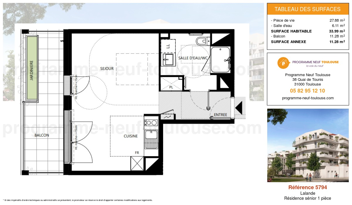 Plan pour un Appartement neuf de  33.99m² à Lalande