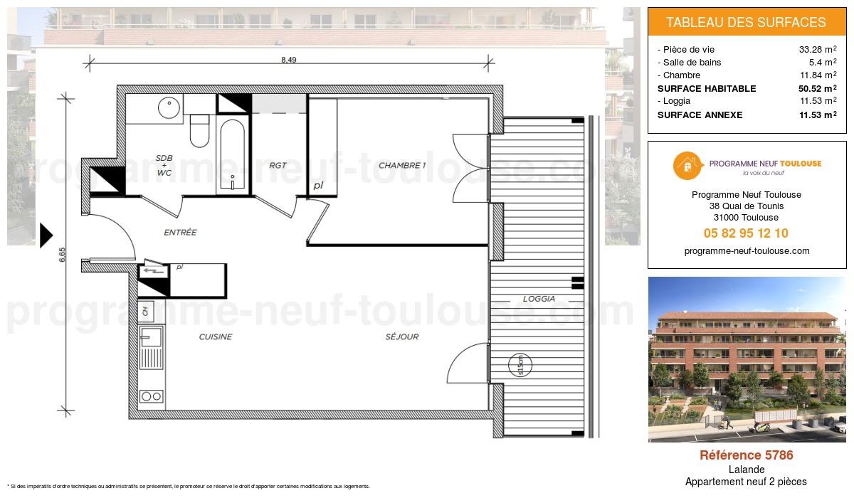 Plan pour un Appartement neuf de  50.52m² à Lalande