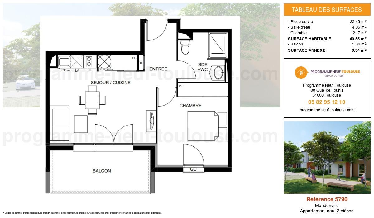 Plan pour un Appartement neuf de  40.55m² à Mondonville