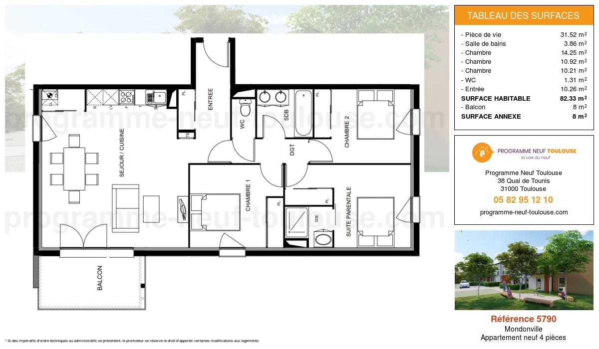 Plan pour un Appartement neuf de  82.33m² à Mondonville