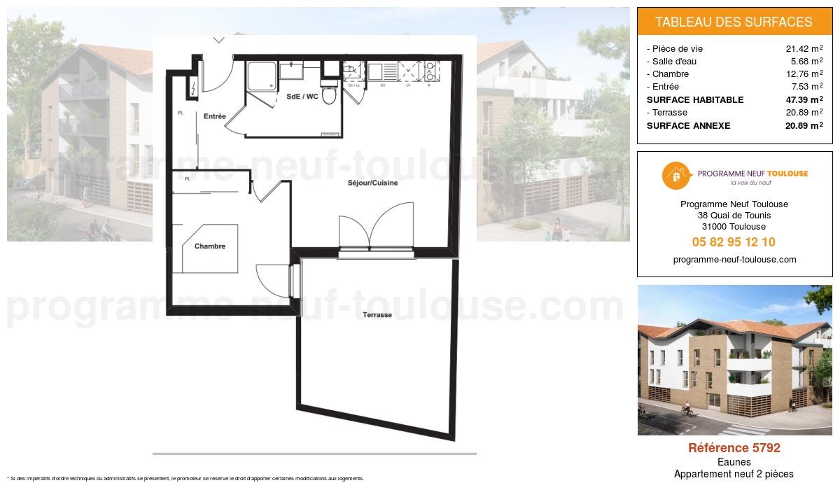 Plan pour un Appartement neuf de  47.39m² à Eaunes