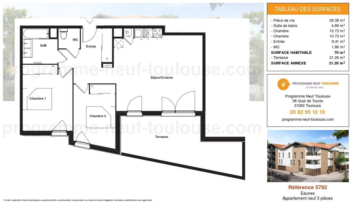 Plan pour un Appartement neuf de  70m² à Eaunes