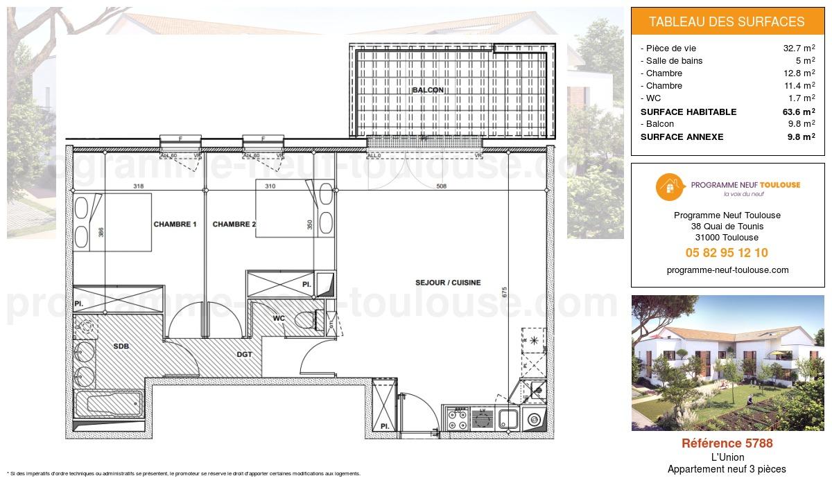 Plan pour un Appartement neuf de  67.5m² à L'Union