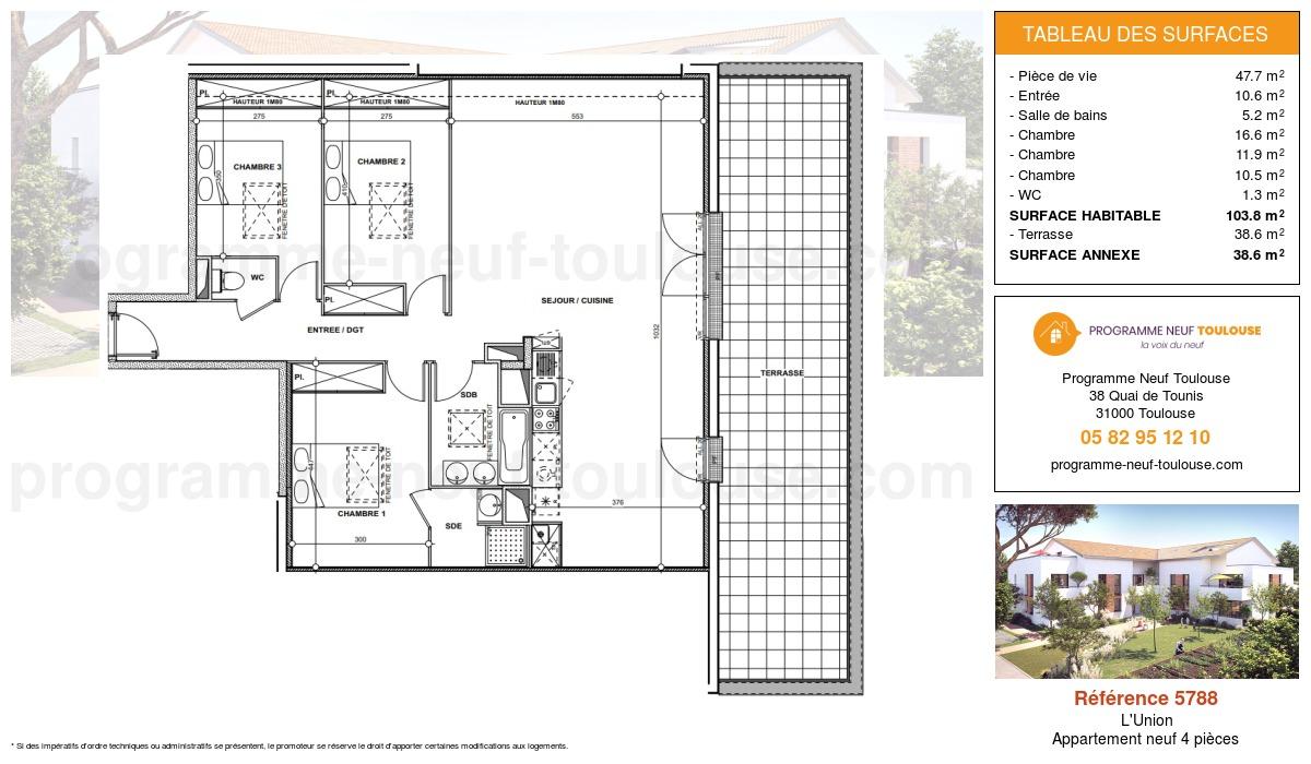 Plan pour un Appartement neuf de  103.8m² à L'Union
