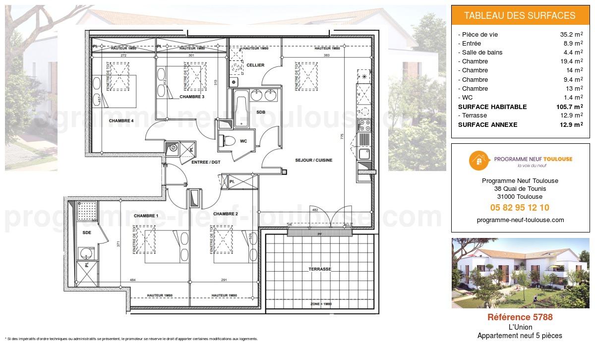Plan pour un Appartement neuf de  105.7m² à L'Union