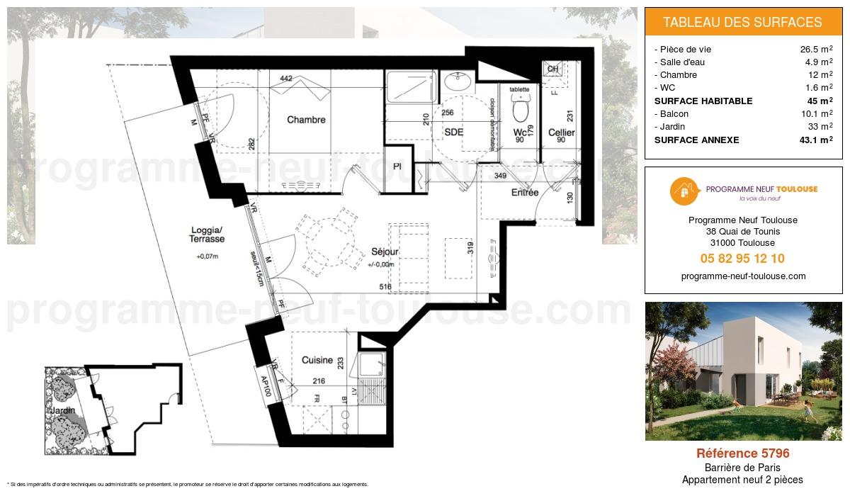 Plan pour un Appartement neuf de  45m² à Barrière de Paris