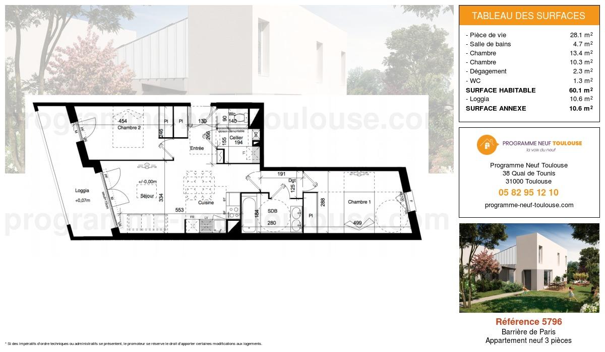 Plan pour un Appartement neuf de  60.1m² à Barrière de Paris