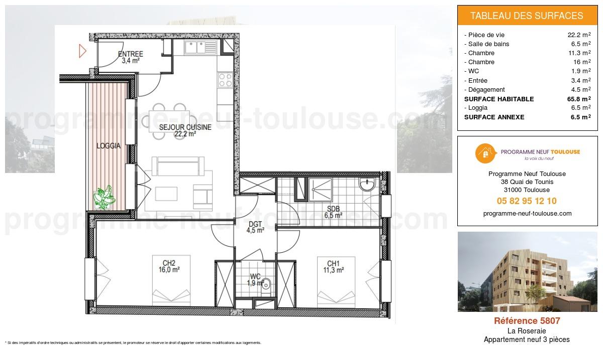Plan pour un Appartement neuf de  65.8m² à La Roseraie