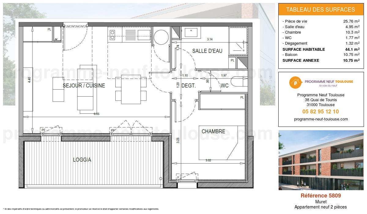 Plan pour un Appartement neuf de  44.1m² à Muret