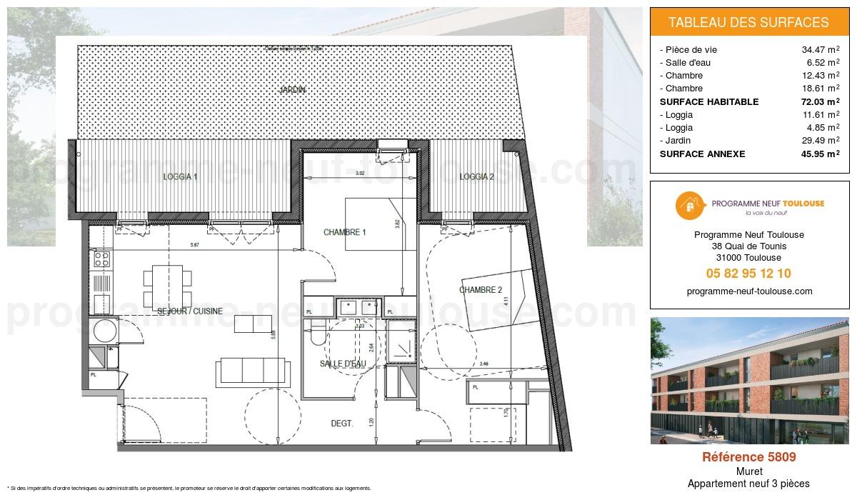 Plan pour un Appartement neuf de  72.03m² à Muret