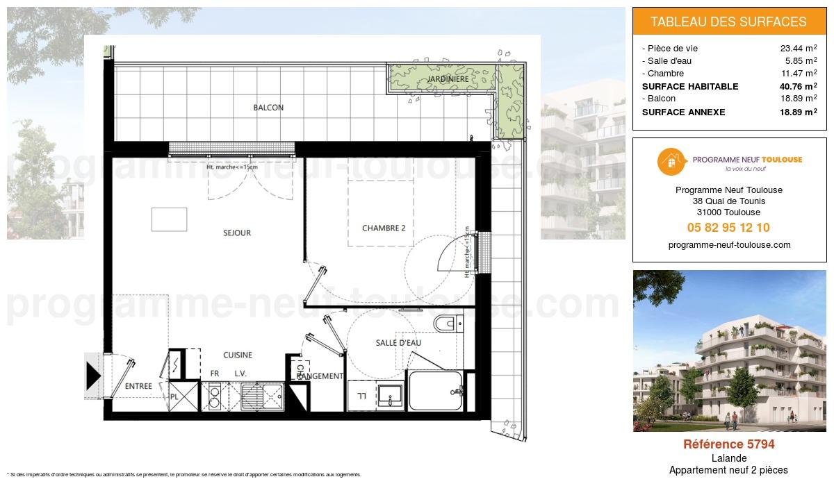 Plan pour un Appartement neuf de  40.76m² à Lalande