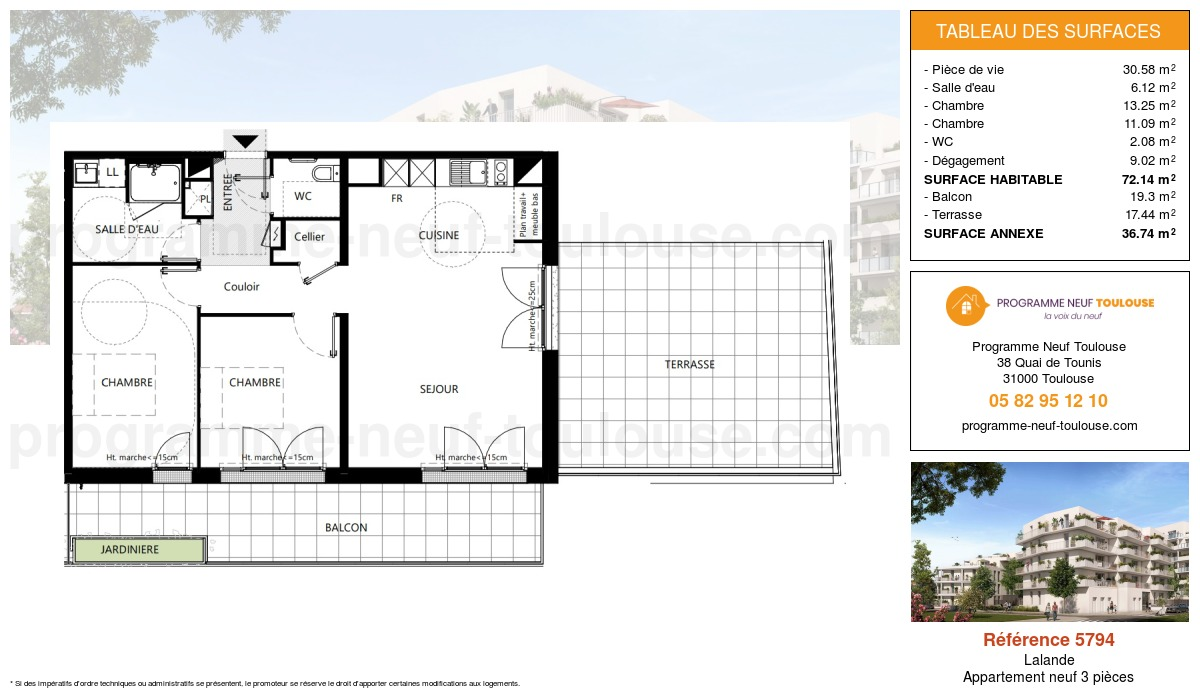 Plan pour un Appartement neuf de  74.12m² à Lalande