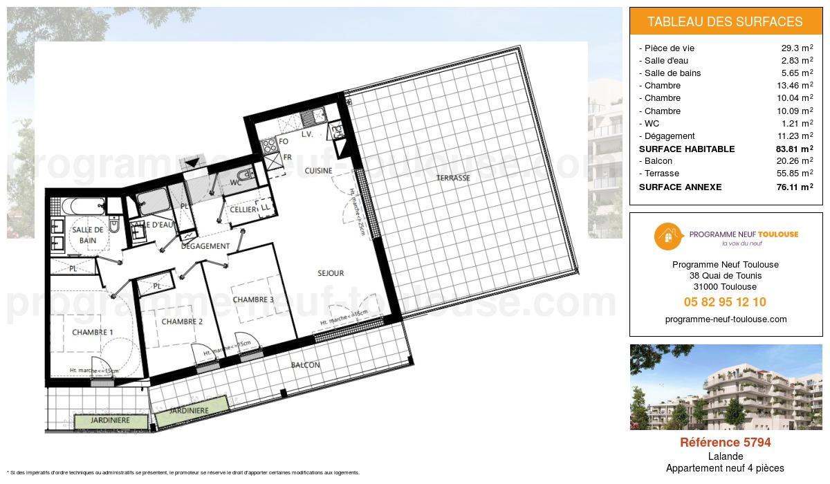 Plan pour un Appartement neuf de  83.81m² à Lalande