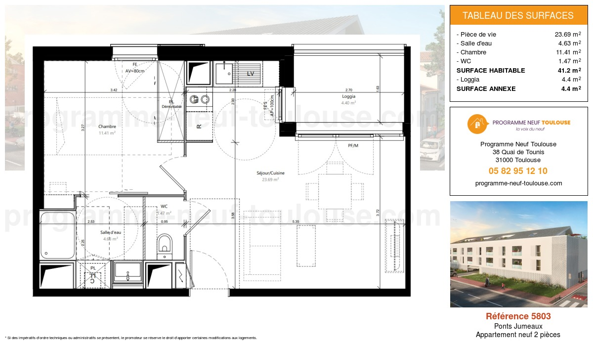 Plan pour un Appartement neuf de  41.2m² à Ponts Jumeaux