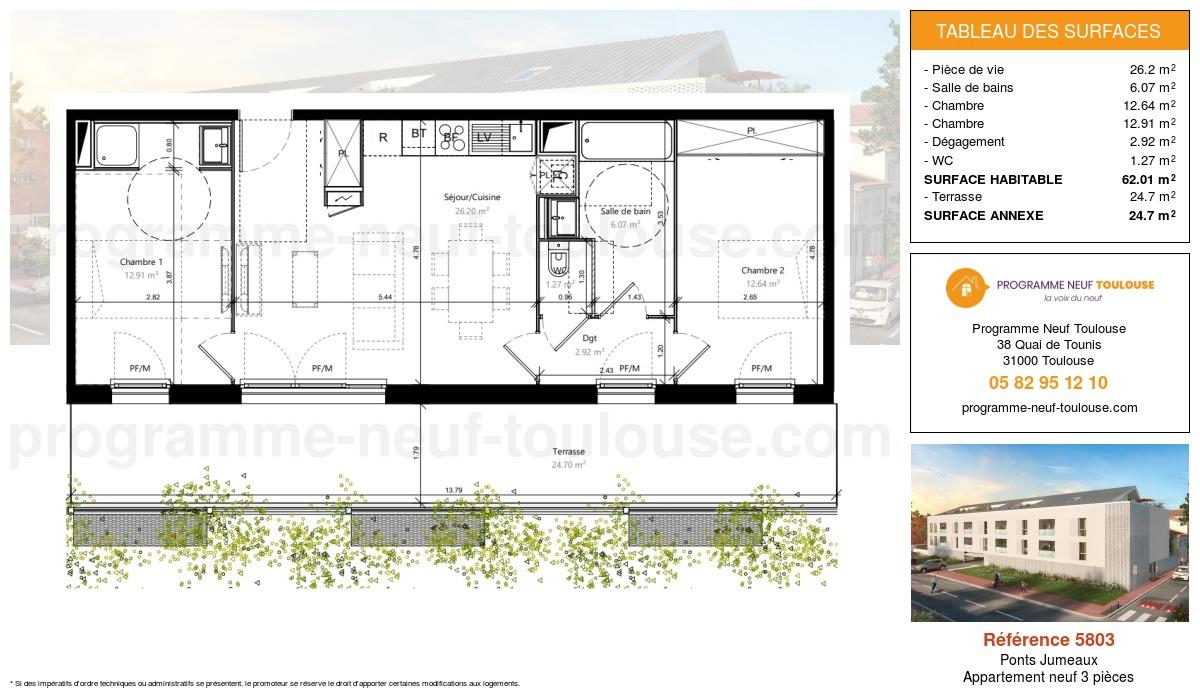 Plan pour un Appartement neuf de  62.01m² à Ponts Jumeaux