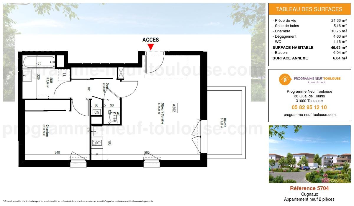 Plan pour un Appartement neuf de  46.63m² à Cugnaux