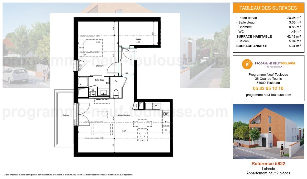 Plan pour un Appartement neuf de  42.45m² à Lalande