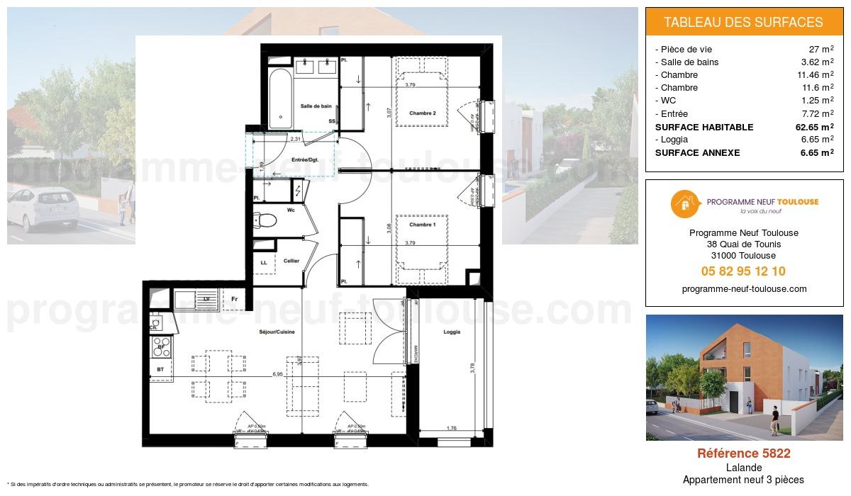 Plan pour un Appartement neuf de  62.65m² à Lalande