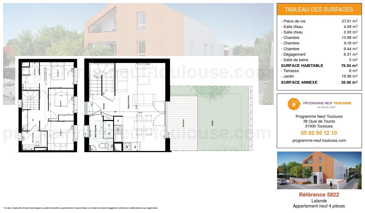 Plan pour un Appartement neuf de  76.94m² à Lalande