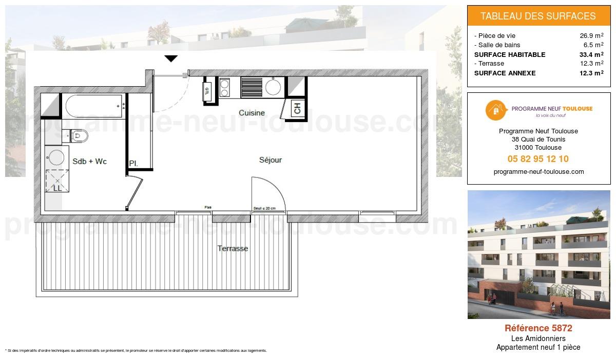 Plan pour un Appartement neuf de  33.4m² à Les Amidonniers