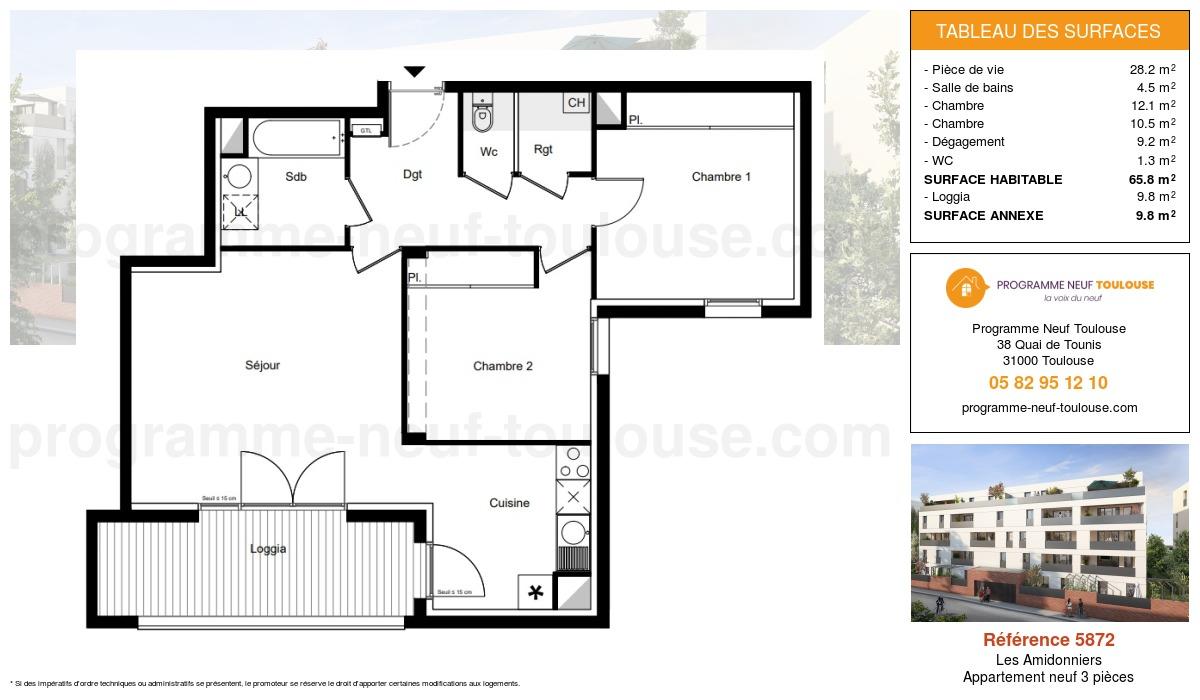 Plan pour un Appartement neuf de  65.8m² à Les Amidonniers
