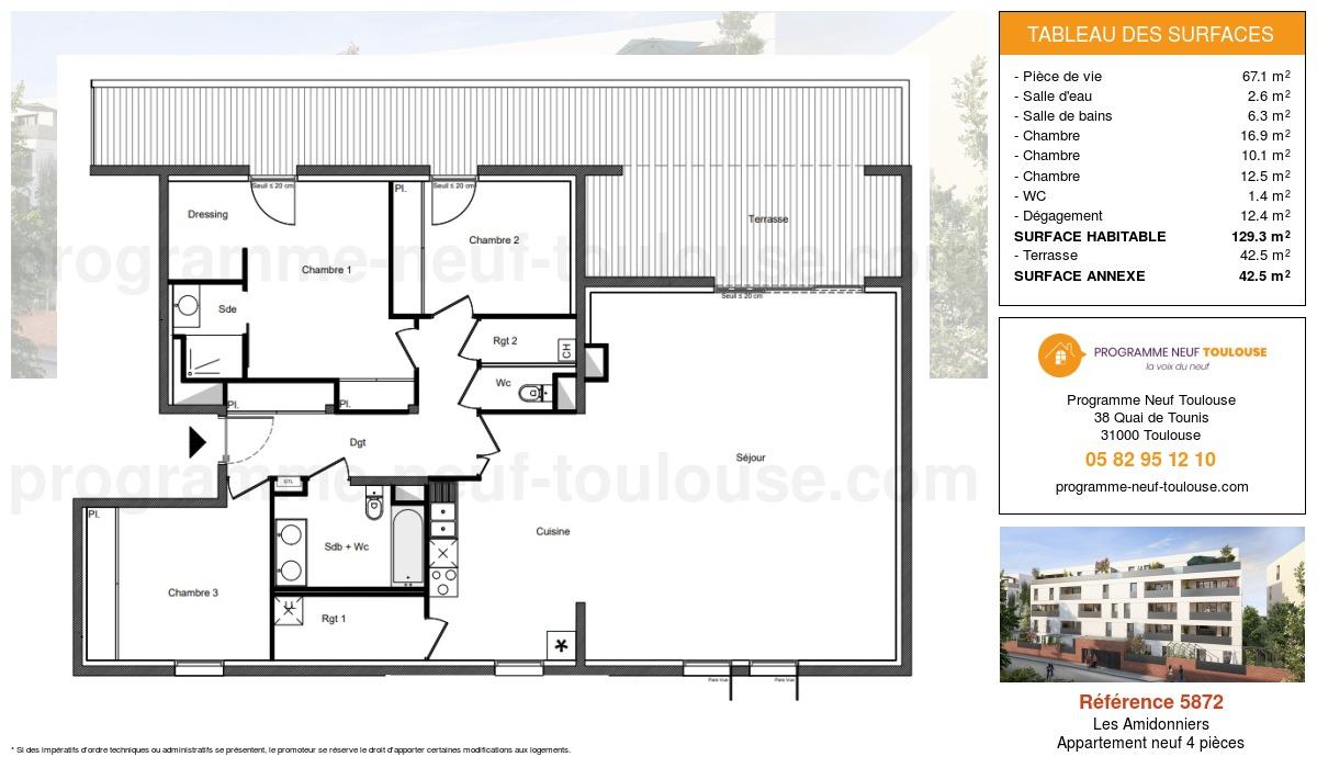 Plan pour un Appartement neuf de  129.3m² à Les Amidonniers