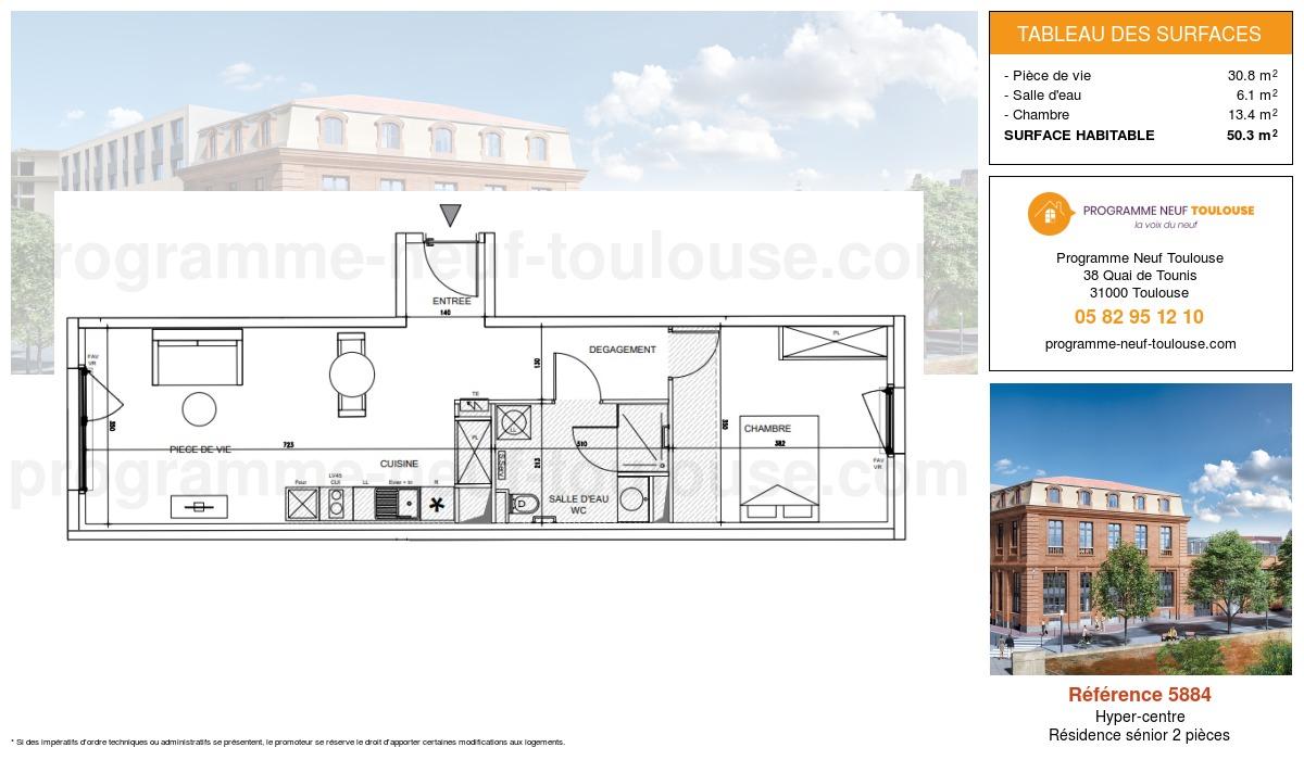 Plan pour un Appartement neuf de  50.3m² à Hyper-centre