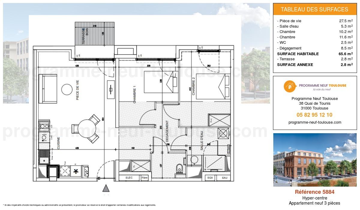 Plan pour un Appartement neuf de  65.6m² à Hyper-centre