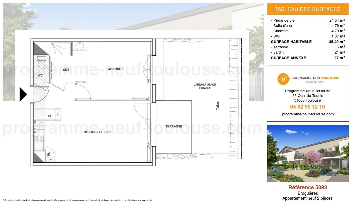 Plan pour un Appartement neuf de  42.75m² à Bruguières