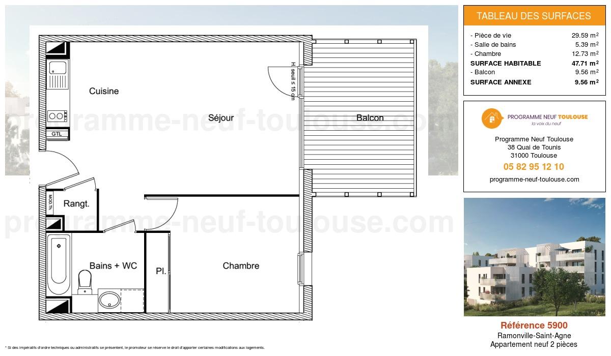 Plan pour un Appartement neuf de  47.71m² à Ramonville-Saint-Agne