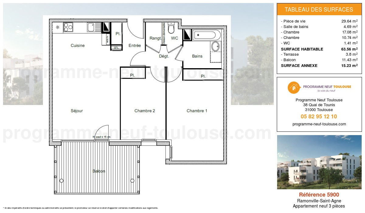 Plan pour un Appartement neuf de  67.36m² à Ramonville-Saint-Agne