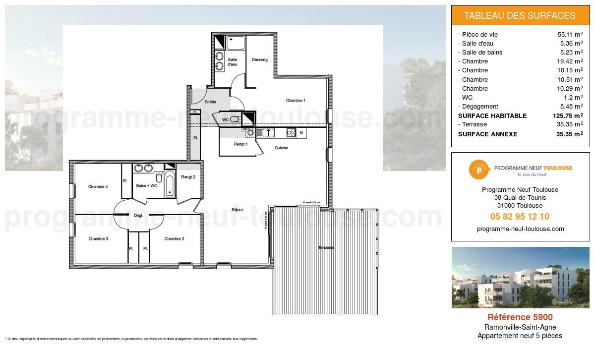 Plan pour un Appartement neuf de  125.75m² à Ramonville-Saint-Agne