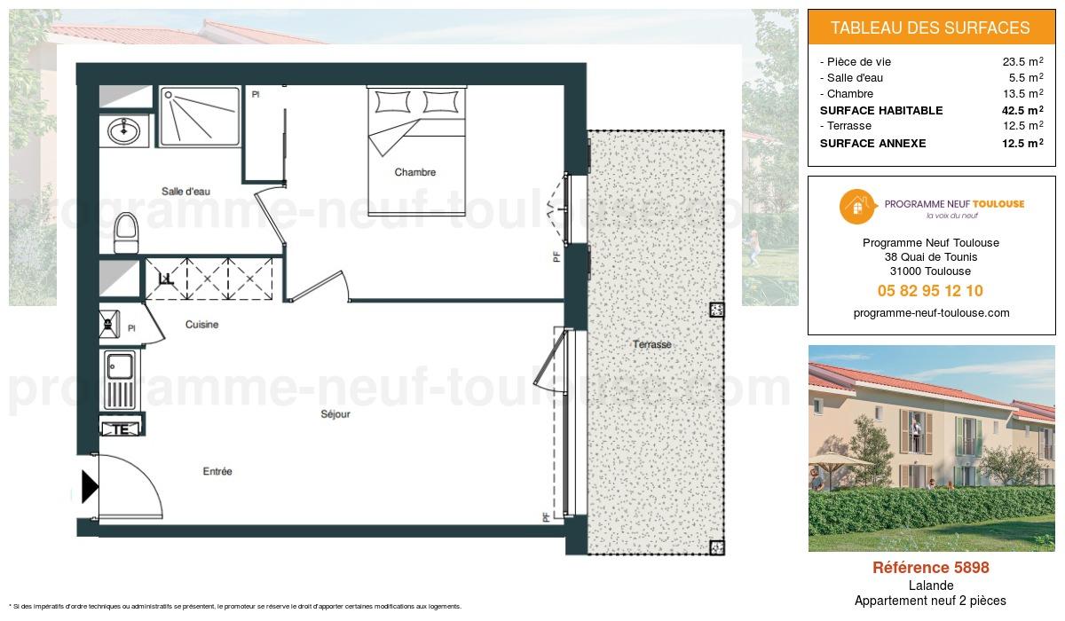 Plan pour un Appartement neuf de  42.5m² à Lalande