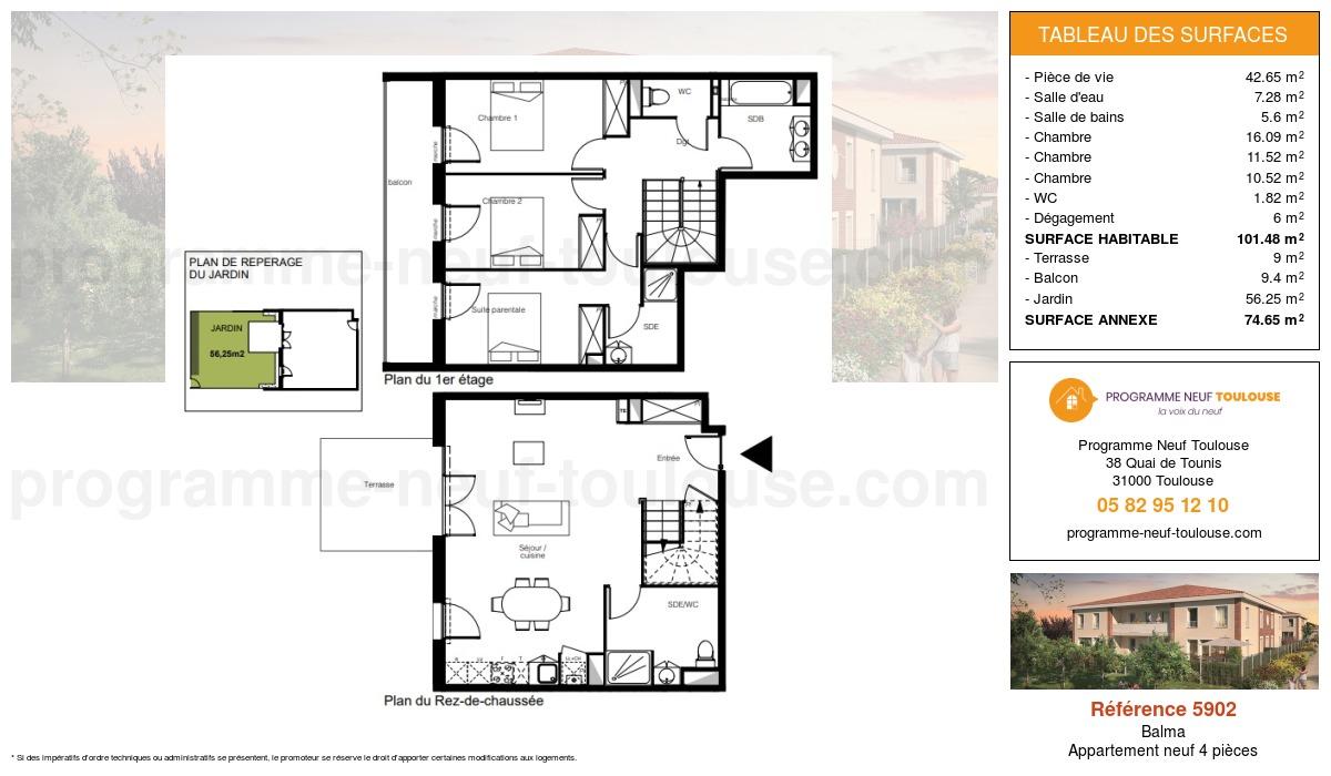Plan pour un Appartement neuf de  101.48m² à Balma