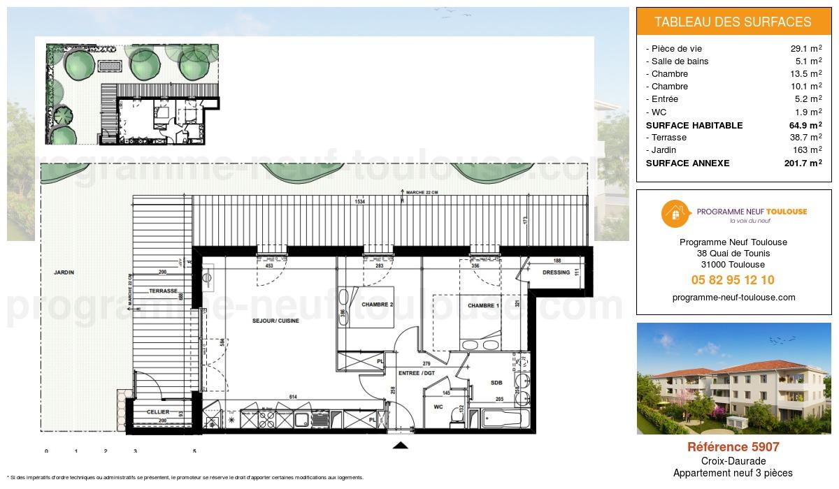 Plan pour un Appartement neuf de  64.9m² à Croix-Daurade