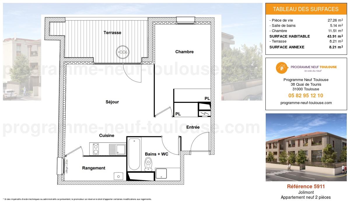 Plan pour un Appartement neuf de  43.91m² à Jolimont
