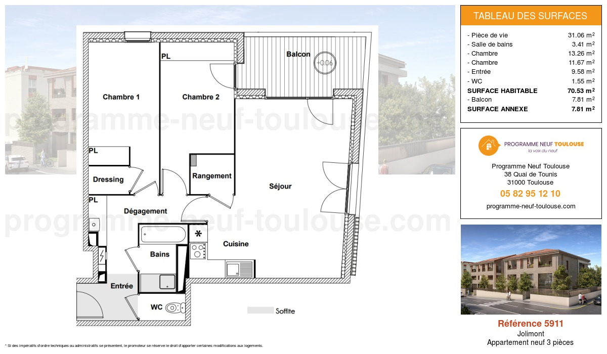 Plan pour un Appartement neuf de  70.53m² à Jolimont