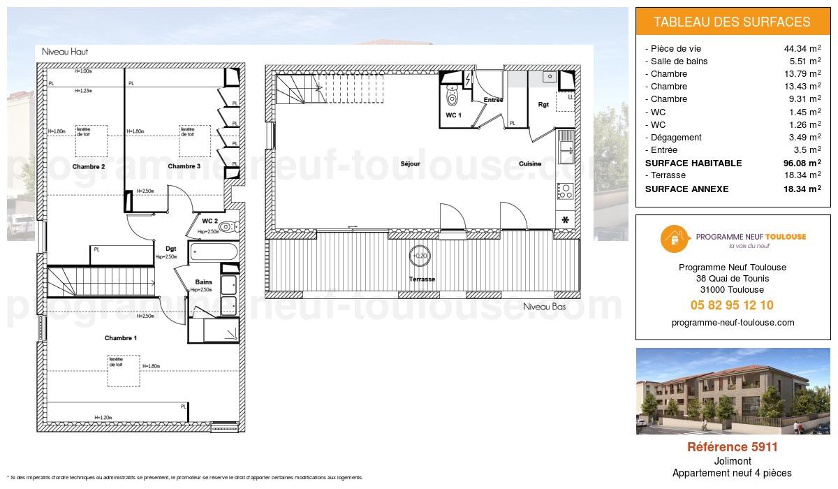 Plan pour un Appartement neuf de  96.08m² à Jolimont