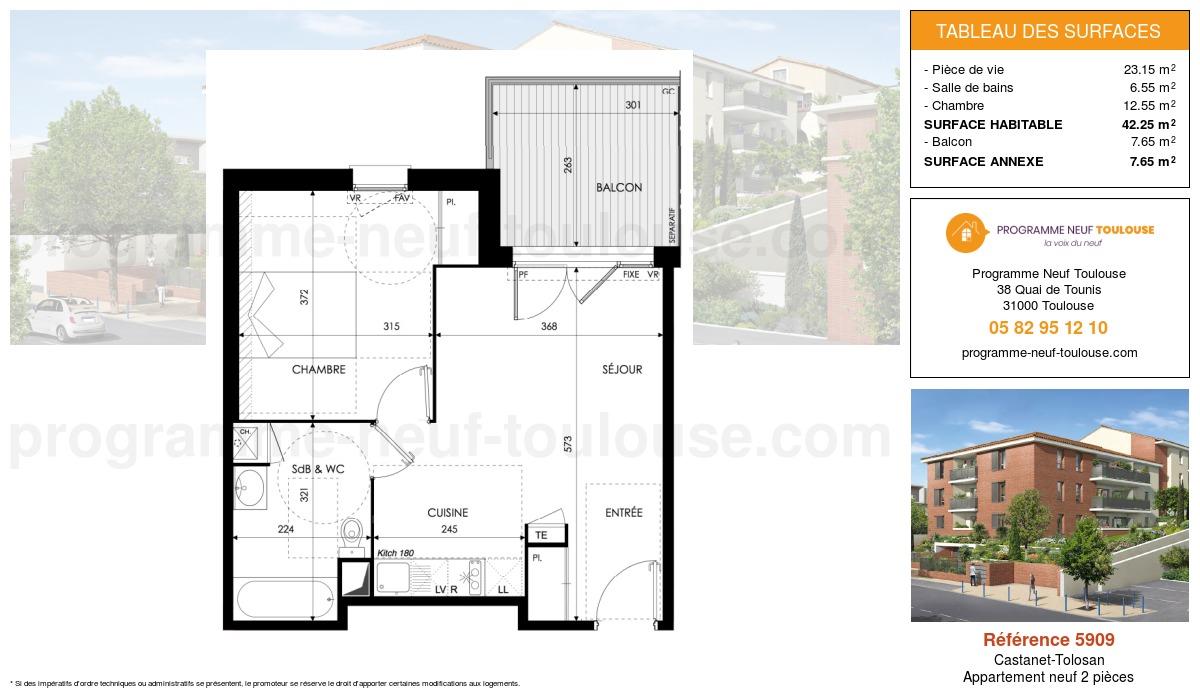 Plan pour un Appartement neuf de  42.25m² à Castanet-Tolosan