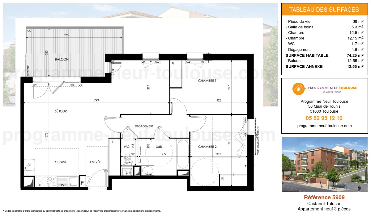 Plan pour un Appartement neuf de  74.25m² à Castanet-Tolosan