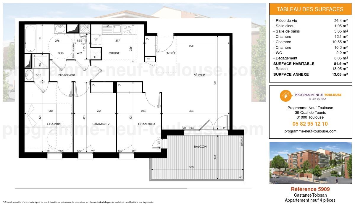 Plan pour un Appartement neuf de  81.9m² à Castanet-Tolosan