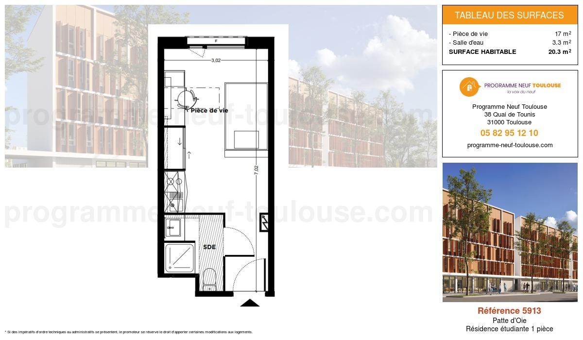 Plan pour un Résidence étudiante de  20.3m² à Patte d'Oie