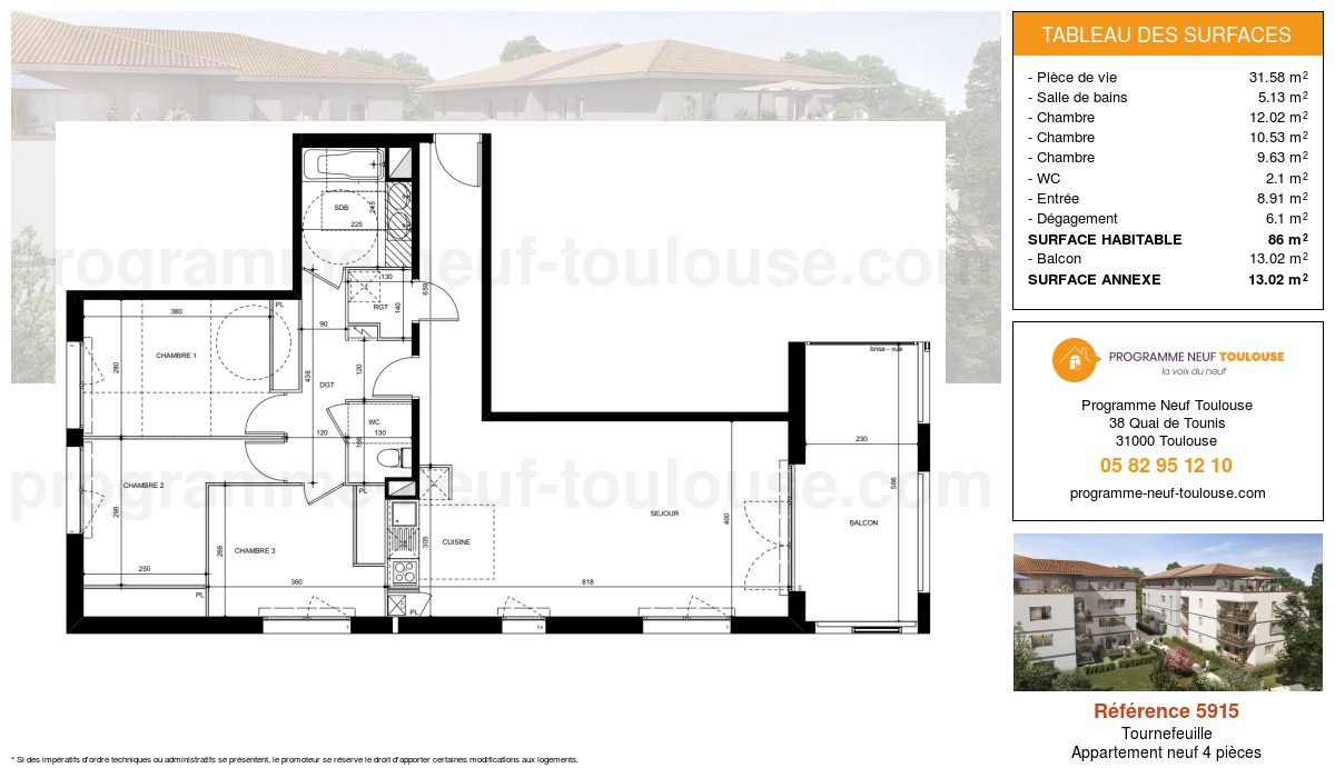 Plan pour un Appartement neuf de  86m² à Tournefeuille