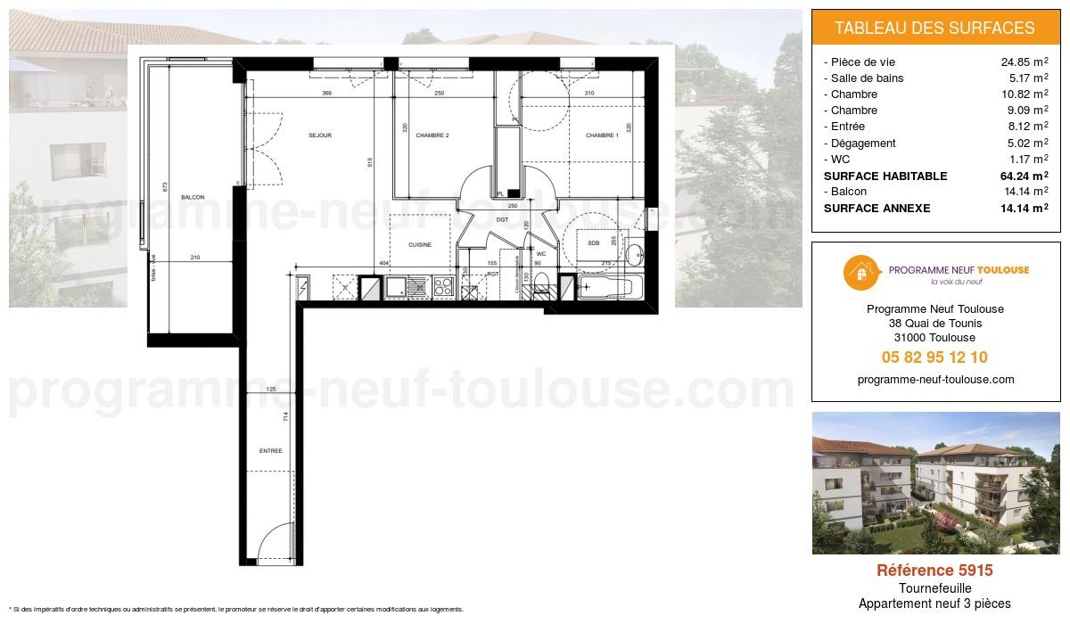 Plan pour un Appartement neuf de  64.24m² à Tournefeuille
