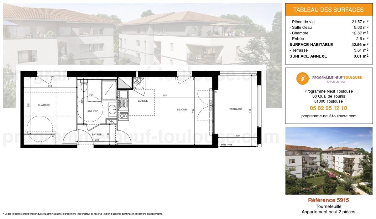 Plan pour un Appartement neuf de  42.56m² à Tournefeuille