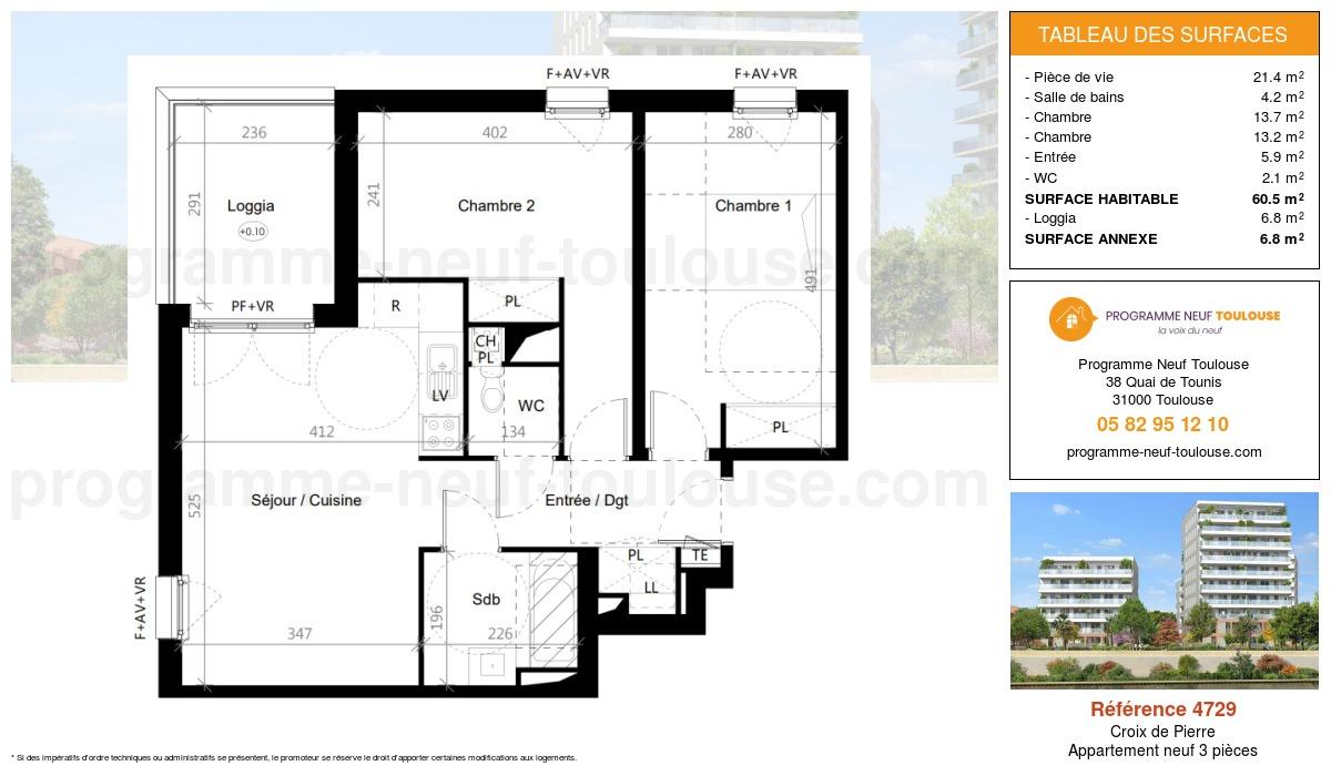 Plan pour un Appartement neuf de  60.5m² à Croix de Pierre