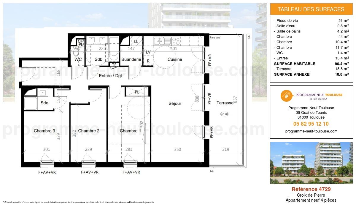 Plan pour un Appartement neuf de  90.4m² à Croix de Pierre